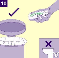 Dibujo introduciendo el preservativo femenino en el cubo de la basura